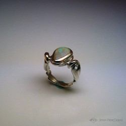 """""""Hope's Drop"""", Argentium and Australian Opal Ring, High Jewelry. Seen from above"""