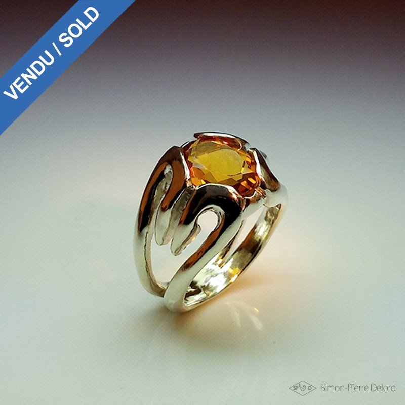 "Jewelery creation: Ring ""The Dawn"", Arts and Crafts Jeweler, Citrine orange. Lost wax, Direct carving art"