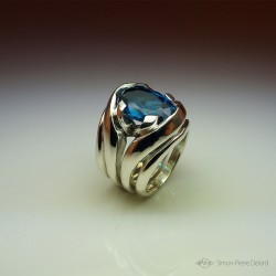 """""""Encyclical"""", High Jewelry Ring, Topaz Blue London, Lost wax technique. Arts and Crafts"""