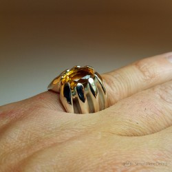 """Jewelery creation: Ring """"Eternal Torch"""", Arts and Crafts Jeweler, Citrine. Lost wax, Direct carving art"""
