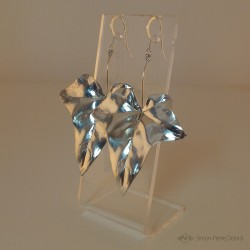 """Earrings """"Ivy Leaves"""", Craftsman of Art Jeweler, Silver 925. Embossed silver technique from the XIXth century"""