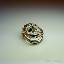 "Jewelery creation: Ring ""Protective Reason"", Arts and Crafts Jeweler, Synthetic Spinel. Lost wax, Direct carving art"
