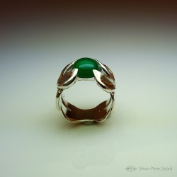 """Jewelery creation: Ring """"Emergence"""", Arts and Crafts Jeweler, Green chalcedony. Lost wax, Direct carving art"""