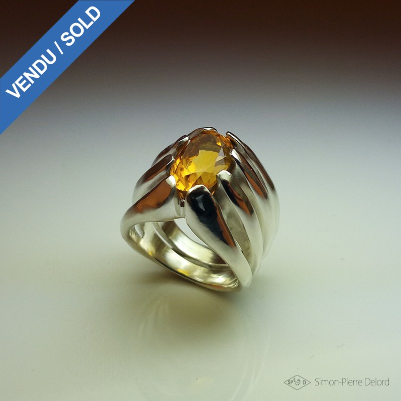 "Jewelery creation: Ring ""Eternal Torch"", Arts and Crafts Jeweler, Citrine. Lost wax, Direct carving art"