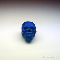 """Memento Mori"" Carved Lapis Lazuli skull. Front view"