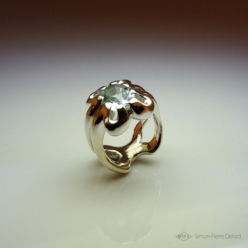 """""""Spiritual Path"""", High Jewelry Ring, Aquamarine, Lost wax technique. Arts and Crafts"""