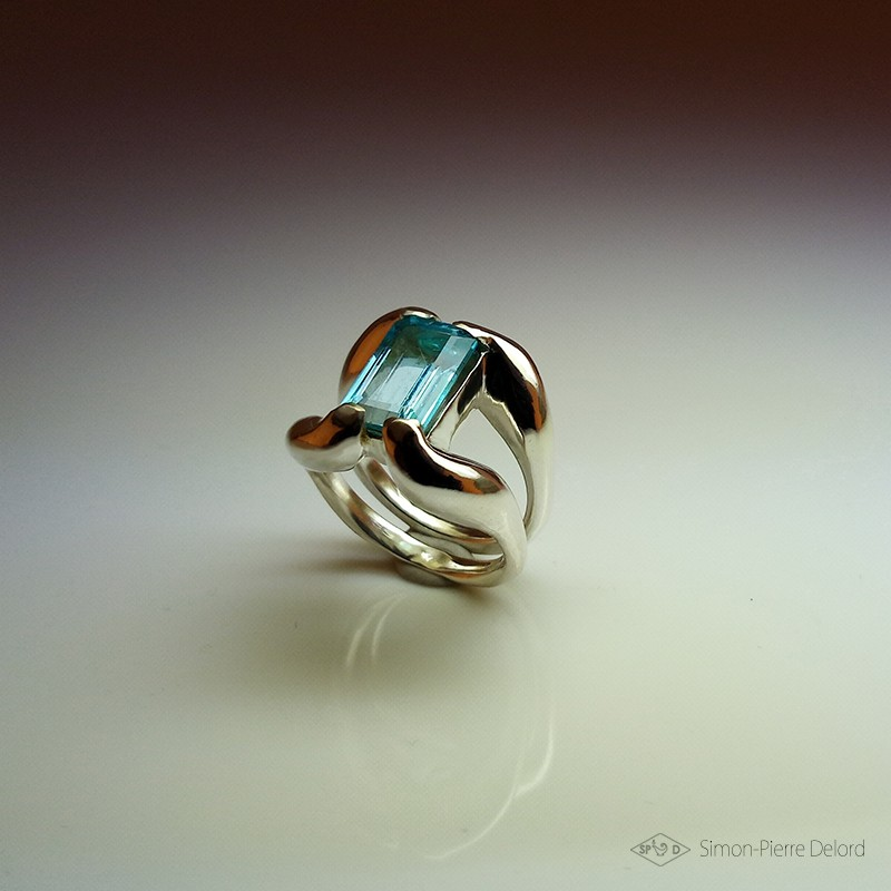 """""""Celestial Purity"""", High Jewelry Ring, Blue Topaz, Lost wax technique. Arts and Crafts"""
