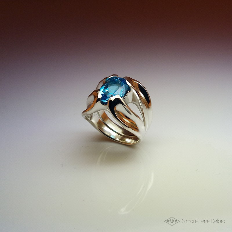 """""""Drop of Life"""", High Jewelry Ring, Blue Topaz, Lost wax technique. Arts and Crafts"""