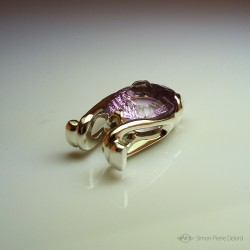 """Celestial Beetle"", Fantasy Exobiology, Craftsman Art Jeweler Pendant, Ametrine, Lost wax, Direct carving art"