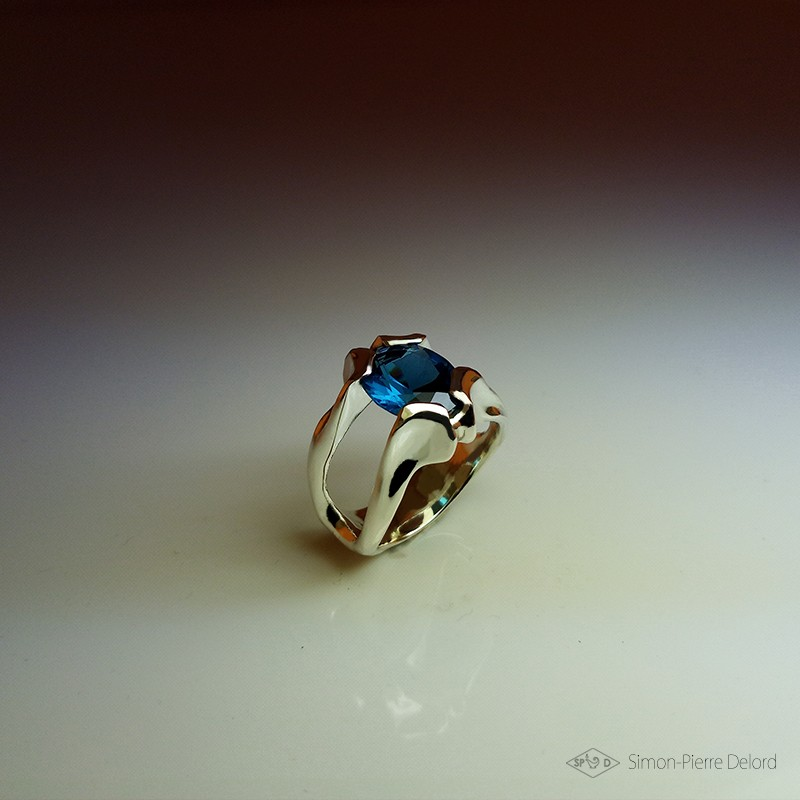 """""""Drop of Lagoon"""", High Jewelry Ring, Blue Topaz, Lost wax technique. Arts and Crafts, Fantasy Exobiology, Direct carving art"""