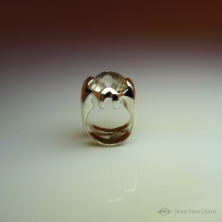 """""""Moon Reflection"""", High Jewelry Ring, Smoky Quartz, Lost wax technique. Arts and Crafts, Fantasy Exobiology, Direct carving art"""