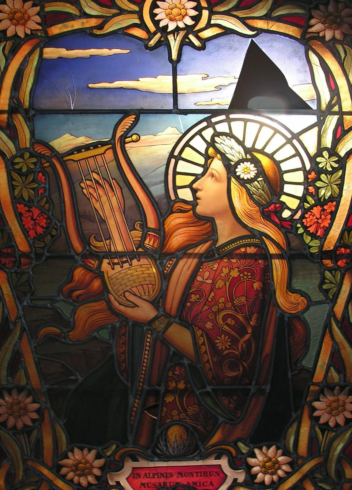 "Stained Glass | Antoine Bernard (XIX-XX) | ""In Alpinis Montibus Musarum Amica"""