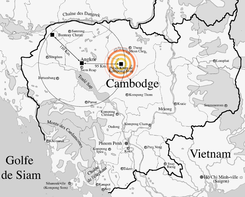 Location Map of the Temple Preah Khan Kampong Svay