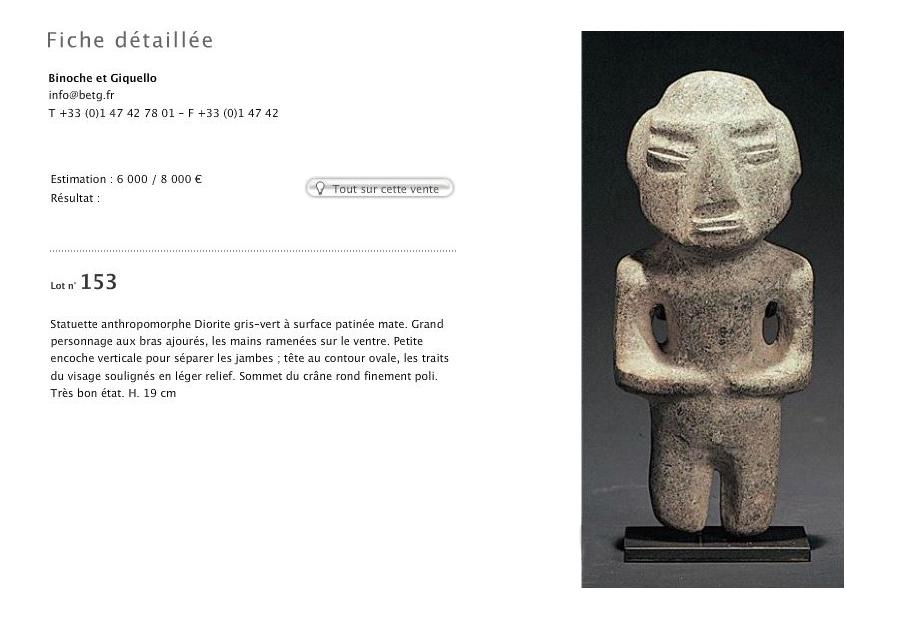 Catalog, Pre-Columbian Art | Chontal and Mezcala statuettes | Binoche and Giquello | April 16, 2008