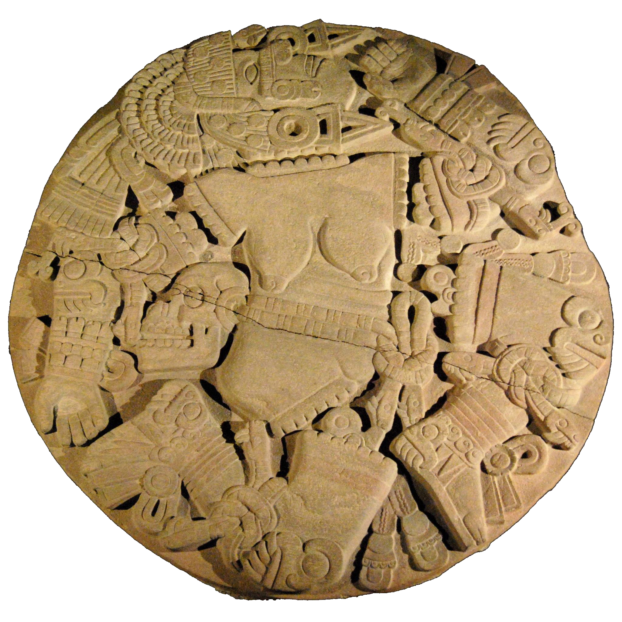 Azteque Coyolxauhqui disc from the Templo del Mayor in Mexico City