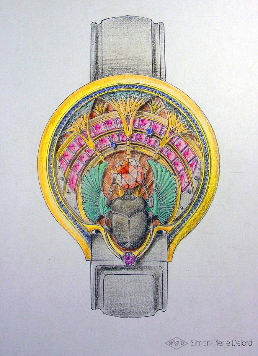 Artisan d'Art | Dessin et Gouaché d'une montre sur le thème de l'Egypte (Scarabée et Soleil)